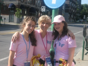 My daugther Laurie and her Friend Catherine Supporting me through my 60k walk...